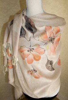 Beige Shawl Hand Painted Champagne with Gardenias by Marutxi