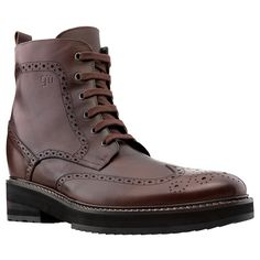 Taipei - 5 inch Elevator Boots | Guidomaggi. Upper in dark brown full grain leather, insole and midsole in genuine leather, cotton waxed shoe laces. Hand Made in Italy.