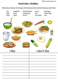 to get ideas in Spanish/ food - vegetable - fruit like/don't like easy worksheets & flashcards