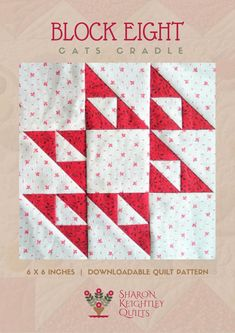 Quilt patterns - Simply Red Quilt BOM Block Eight – Quilt patterns Hama Beads Minecraft, Perler Beads, Minecraft Pattern, Lego Minecraft, Star Quilt Blocks, Star Quilts, Quilt Block Patterns, Pattern Blocks, Scrappy Quilts