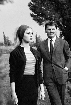 "Brigitte Bardot and Jack Palance on the set of ""Contempt"", 1963"