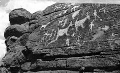 A view of Native American petroglyph rock carvings near Tucson, Arizona. From the Albertype Collection