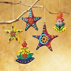 guatemalan folk art | Set of Five Guatemalan Folk Art Ornaments | Gingle bells