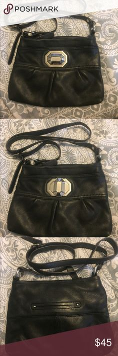 B Makowsky black leather crossbody bag Black leather cross body bad. Buckle turns to secure outside pocket. Zip closure. b. makowsky Bags Crossbody Bags