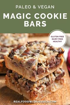 These Paleo Magic Cookie Bars are a healthier version of the classic dessert. A shortbread crust topped with shredded coconut, chopped pecans, chocolate chips and a homemade sweetened condensed milk poured on top. They are gluten free, dairy free, naturally sweetened with a vegan option. #paleo #glutenfree #healthy #easyrecipe #dairyfree | realfoodwithjessica.com @realfoodwithjessica