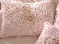 Vintage Chenille Feather Pillow - Sweet Baby PINK Chenille, White Linen and Lace…