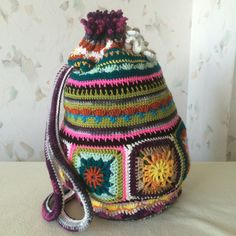 Crochet+Granny+Square.bag..+Vintage+art+backpack+...Traditional+pouch..