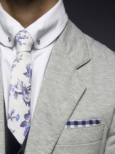 Light Grey Suit w/ Floral Print Tie & Gingham Pocket Square - @classiquecom