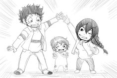 "kickbase77: "" Izuku and Tsuyu Family time chibi!! Request - thegamebro622 """