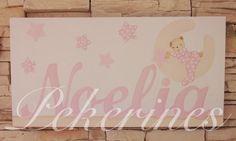 Decoración Infantil Pekerines: Cuadro con nombre para bebé y la silueta de la ini...                   pekerines.blogspot.com.es