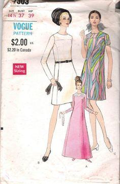 "Vintage Sheath Dress Sewing Pattern 1960s Vogue 7303 Sz 14 5 Bust 37 Hip 39"" Cut | eBay"