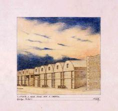 """Giuseppe De Boni, Laboratorio di progettazione di Cerreto Sannita, 1988, """"Il fronte a valle delle case a schiera"""", 1989, Matita, pastelli su carta da lucido, 24x30 cm. #sketch"""