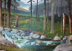 Depth-Interposition-people are placed in front of river. Size-trees in the mid ground are taller than trees in the background. Elevation- mountains placed higher in the painting appear the furthest away. linear perspective- vanishing point in the center of painting.Texture gradient-texture of the mid ground trees is more prominent than trees in the back ground. Shading- shading on the trees make it rounder. Atmospheric perspective-The background is more faded than the foreground.