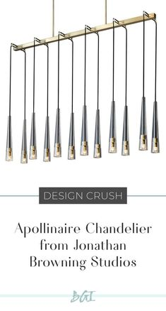 The Apollinaire chandelier from Jonathan Browning Studios is machined by hand from solid brass, custom-made for each home. It is also hand polished and patina'd and the lead crystal shades are turned and polished by hand. Brass Chandelier, Contemporary Interior Design, Home Decor Inspiration, Solid Brass, Crushes, Art Pieces, Diy Presents, Rustic, Browning