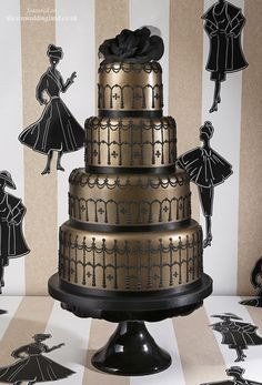 Let them eat cake: unique gold and black wedding cake