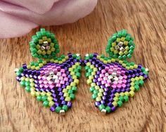 Green and Purple Stud Earrings Beaded Triangles by Charmandculture, $59.00