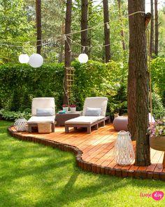 - Nowy drewniany taras w moim leśnym ogrodzie - Twoje DIY, backyard landscaping designs - Backyard Seating, Backyard Patio Designs, Large Backyard Landscaping, Modern Backyard, Wooden Terrace, Forest Garden, Garden Cottage, Garden Inspiration, Outdoor Gardens
