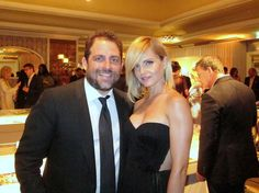 Brett Ratner, one of the hosts, with gorgeous Mena Suvari at Beverly Hills Hotel 100th Anniversary Celebration