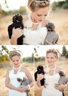 Wedding portrait with chickens