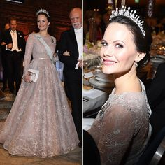 Princess Sofia wore a pale pink embroidered Ida Lanto gown and her wedding tiara. While the piece featured emeralds on the former model's wedding day, for the Nobel gala the colorful gems had been replaced with classic pearls. The tiara was a gift from Sofia's in-laws, King Carl XVI Gustaf and Queen Silvia. Photo: © Getty Images