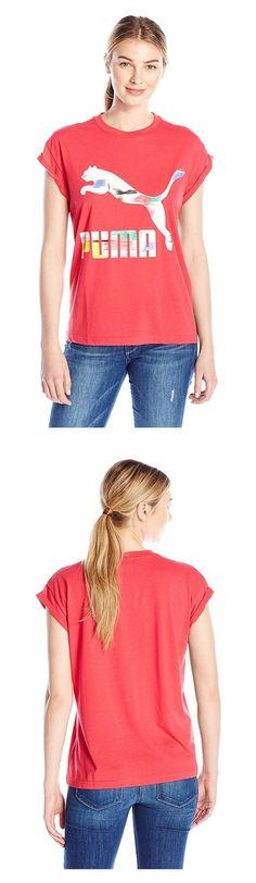 $28 - PUMA Women's Filled Logo Tee Rose Red #puma
