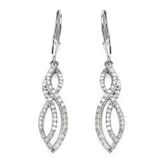 0.76 Carat Genuine White Diamond .925 Sterling Silver Earrings