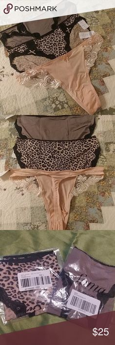 Soma 3 panty bundle New in package - only taken out for photos.  2 pair is Embraceable Lace bikini (one in cheetah print, the other one is a mocha color).  Third pair is Sensuous lace thong in Rose Blush. Soma Intimates & Sleepwear Panties