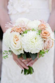 Rose and dahlia bouquet | Photography: Corina V. Photography - corinavphotography.com Read More: http://www.stylemepretty.com/canada-weddings/2015/05/26/romantic-vintage-inspired-vineyard-wedding/