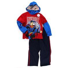 New w// Tags! Superman 3 pc Vest Sweatshirt /& Sweatpants Set Blue /& Red 4T /& 3T