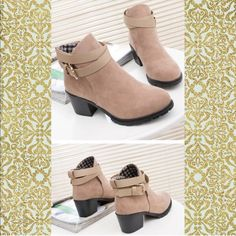 Suede Buckle Booties with Heel!• SALE••• Brand new! In packaging! •COMING SOON• If interested in pre-order---PURCHASE THRU HERE--☺️  Ankle Boots!. ❤️Bundle 2 + items to SAVE 15% OFF! + Free mini Holiday gift bag with A N Y Purchase! .                                ••Shoe WidthMedium(B,M) Platform Height0-3cm Closure TypeBuckle Strap Boot Height Ankle Toe ShapeRound Toe Insole MaterialRubber Upper MaterialSuede Shoes Ankle Boots & Booties