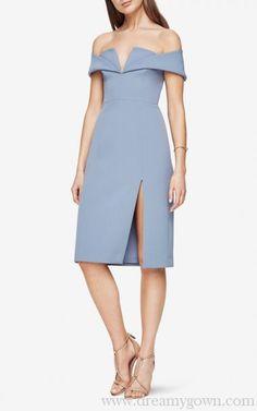 e82a2a011bcbc1 Light Blue BCBG Marquis Off-The-Shoulder Pageant Dress with Slit Bcbg  Dresses,