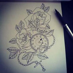 Tattoo's For > Pocket Watch And Rose Tattoo Tumblr (instead of a watch I want a compass there