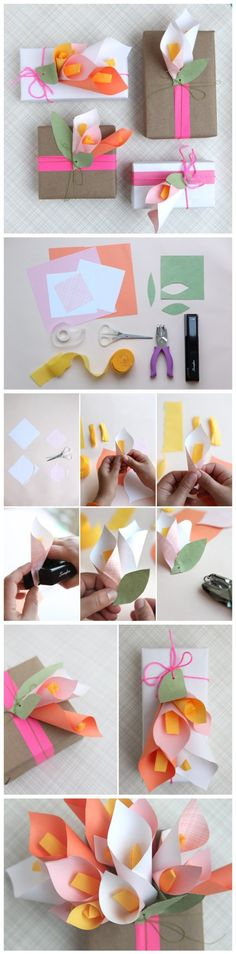 Paper Calla Lilies DIY Gift Wrapping Tutorial | DIY Tag
