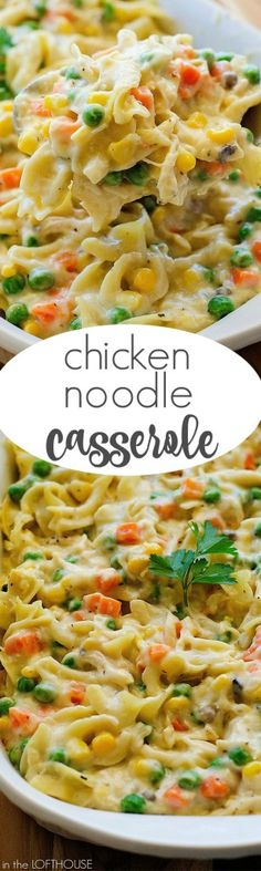 This Chicken Noodle Casserole has all the elements of the classic, comforting soup and more! It is positively perfect to serve on a cold winter's night, or whenever you're in need of some yummy comfort food without a lot of fuss. A rotisserie chicken wor New Recipes, Cooking Recipes, Healthy Recipes, Recipies, Casseroles Healthy, Vegetarian Recipes, Quick Casseroles, Potato Recipes, Leftover Chicken Recipes