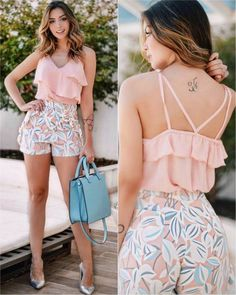 Girly Look Ruffle Top With Floral Shorts Short Outfits, Chic Outfits, Spring Outfits, Trendy Outfits, Short Dresses, Vetements Shoes, Mein Style, Casual Chic, Casual Looks