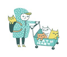 Cat lady goes to supermaket :D