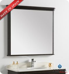 "Fresca Platinum London 39"" Bathroom Mirror FPMR7526AB DimensionsH 37"" x W 39.3"" Antique black finish Fog-Free System Superb hand craftsmanship Made in Spain. $499.40"