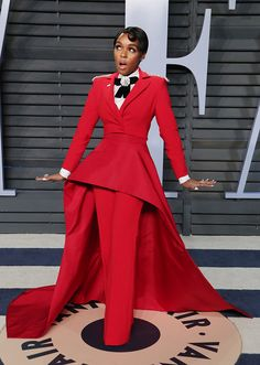 Janelle Monae wearing Christian Siriano at the 2018 Vanity Fair Oscar party. #janellemonae #redcarpet #celebrity #fashion #christiansiriano Celebrity Red Carpet, Celebrity Style, Peplum Dress, Dress Up, Androgynous Look, Vanity Fair Oscar Party, Red Carpet Looks, Star Fashion, Style Inspiration
