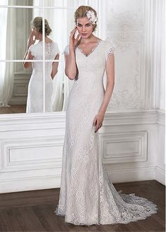 Elegant Lace V-neck Neckline Natural Waistline Sheath Wedding Dress