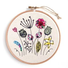 Wildflower meadow embroidery hoop framed wall art picture gift, stitched fabric applique. Birthday. seed heads, wildlife, nature textile art