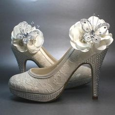 Wedding Shoes -- Ivory Platform Heels with Lace Overlay and Ivory Flowers with Silver Rhinestones and Featuring a Silver Butterfly