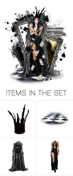 """Killer Queen  Queen of Spades"" by ultracake ❤ liked on Polyvore featuring art, dolls, queen and cards"
