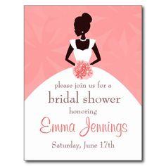 Elegant Bridal Shower Invitation Postcard