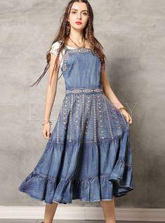 Shop Vintage Embroidered Falbala Denim Dress at EZPOPSY. Vintage Dresses, Vintage Outfits, Vintage Fashion, Vintage Denim, Vintage Floral, Vintage Style, Black Playsuit, Medieval Fashion, Denim Top