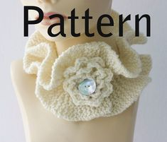 Listing is for PATTERN ONLY - NOT THE SCARF. American knitting and crochet terms. This is one of my favorite designs, a double ruffle neck warmer embellished with a crocheted flower. The neck warmer is buttoned through the flower for a very cute effect. The scarf is appropriate for a knitter with average skills or an adventurous beginner.  Basic crochet skills are also needed to make the rose embellishment. You can download the PDF pattern immediately upon purchase. Let me know if you have…