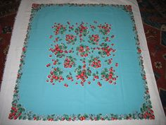 "1950's Vintage Cotton Tablecloth Red Strawberries Turquoise Field 51"" X 52"""