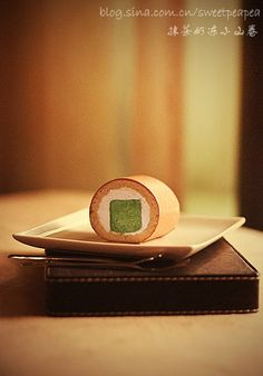 Matcha square mousse inside roll Picture step by step