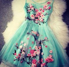 So Pretty! Love the Colors! Light Blue Pink Cherry Blossom Flowers Embroidery Grenadine Sleeveless Party Dress #Aqua #Blue #Embroidered #Sakura #Cherry_Blossom #Party #Dress by reva