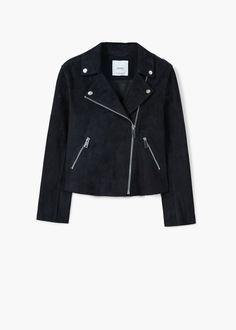 Замшевая байкерская куртка | MANGO МАНГО