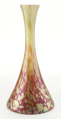 LOETZ GLASS VASE Green glass with pulled feather decoration and oil spots, circa 1900 14-1/4 inches high (36